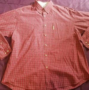 columbia mens red plaid button down shirt size XL